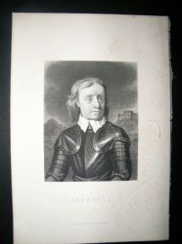 Oliver Cromwell C1870 Steel Engraved Portrait Print.